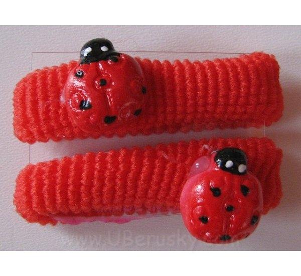 2x gumička s beruškou, Červená