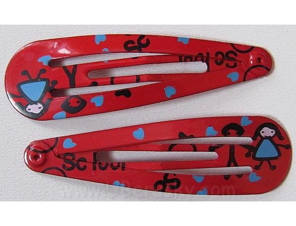 2x prolamovací sponky holka (K19c), Červená