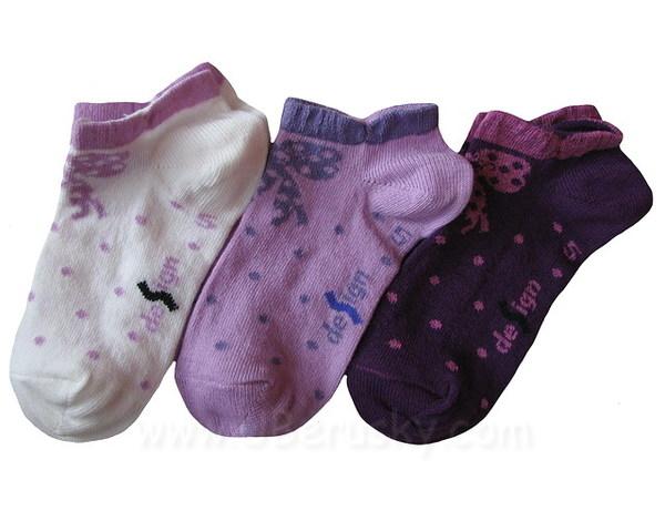 Dětské kotníkové ponožky 3 páry (DEKO48), vel. 32-34, fialková