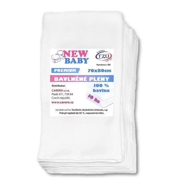 Bavlněné pleny NEW BABY 70x80 cm PREMIUM, Bílá
