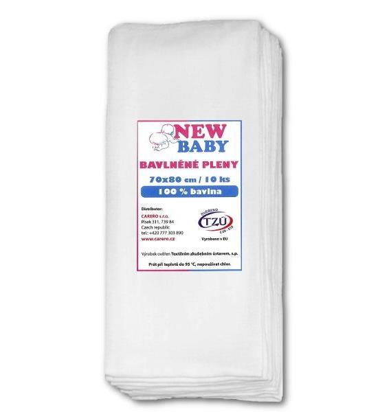 Bavlněné pleny NEW BABY 70x80 cm STANDARD, Bílá