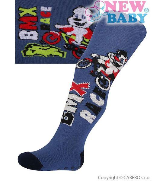 Bavlněné punčocháčky New Baby s ABS modré race, vel. 104, Modrá