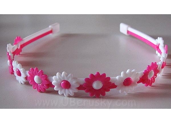 Bižuterie Lerch Čelenka s kytkami (L074), bílo-růžová