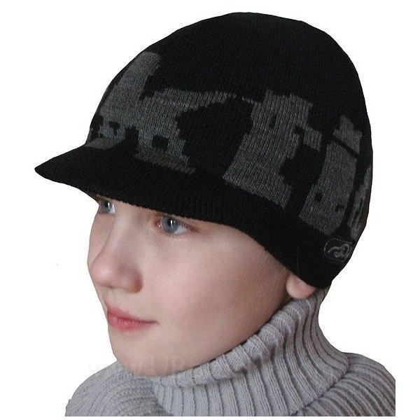 Chlapecká čepice s kšiltem, vel. 104-116, černá
