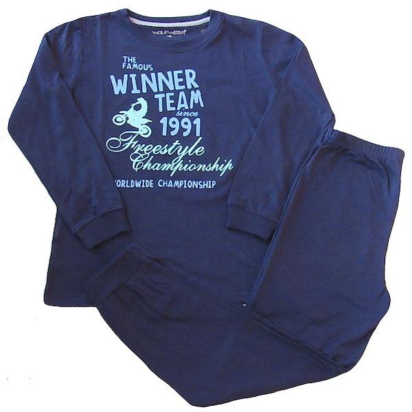Chlapecké pyžamo Wolf (S2656B), vel. 146, tm. modrá