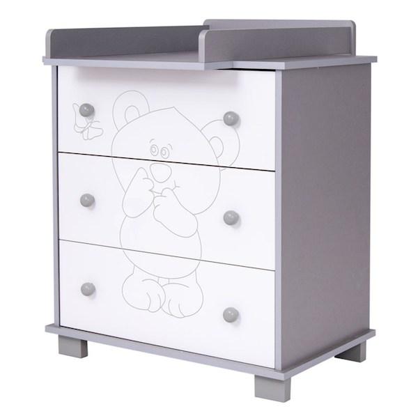 Dětská komoda Drewex Malý medvídek a motýlek šedá, šedá