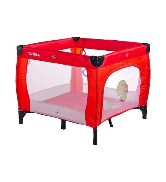 Dětská skládací ohrádka CARETERO Quadra grey, Červená