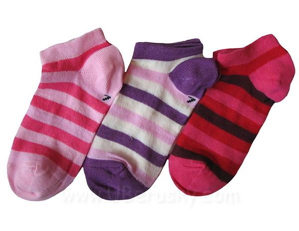 Dětské kotníkové ponožky 3 páry (DEKO 46), vel. 35-37, růžovo-fialová