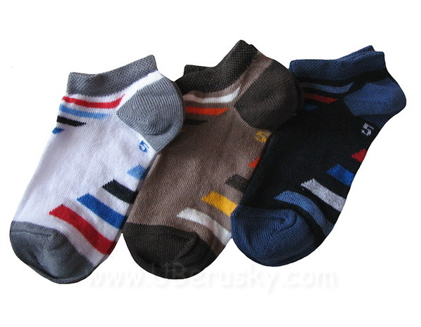 Dětské kotníkové ponožky 3 páry (DEKO 49), vel. 35-37, bílo-modro-hnědá