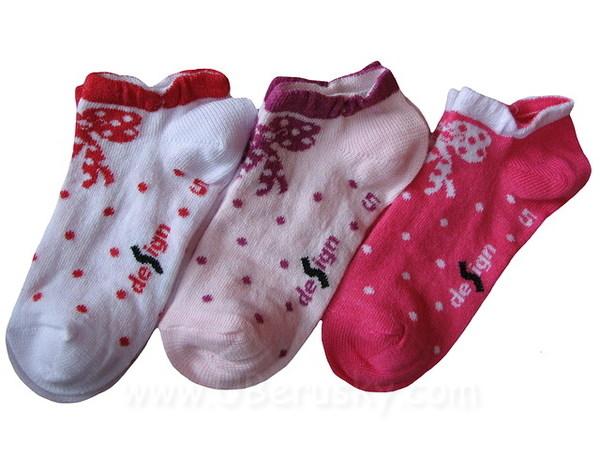 Dětské kotníkové ponožky 3 páry (DEKO48), vel. 32-34, Růžová
