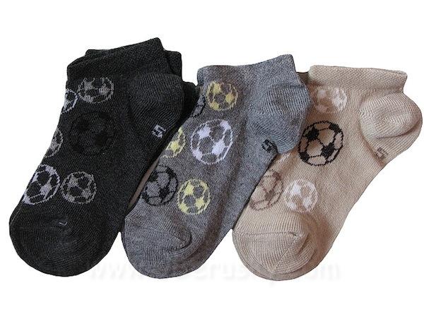 Dětské kotníkové ponožky 3 páry (DEKO52), vel. 35-37, šedo-hnědá