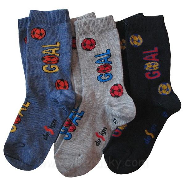 Dětské ponožky 3 páry (DEKL 48), vel. 35-37, modro-šedá