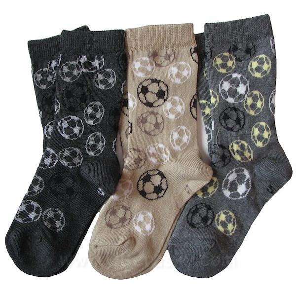 Dětské ponožky 3 páry (DEKL 64), vel. 35-37, šedo-hnědá