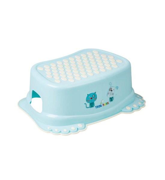 Dětské protiskluzové stupátko do koupelny Pejsek a Kočička modré, Modrá