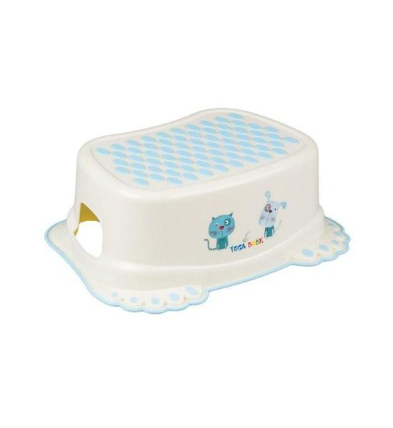 Dětské protiskluzové stupátko do koupelny Pejsek a Kočička modré, Žlutá