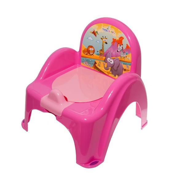 Dětský nočník s poklopem fialový safari, Růžová