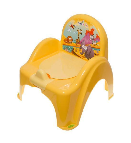 Dětský nočník s poklopem fialový safari, Žlutá