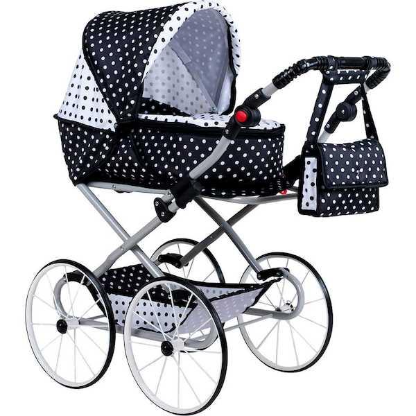 Dětský Retro kočárek pro panenky 2v1 New Baby Natálka růžový, Dle obrázku