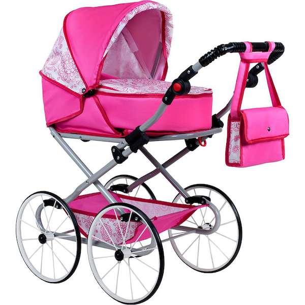 Dětský Retro kočárek pro panenky 2v1 New Baby Natálka růžový, Růžová