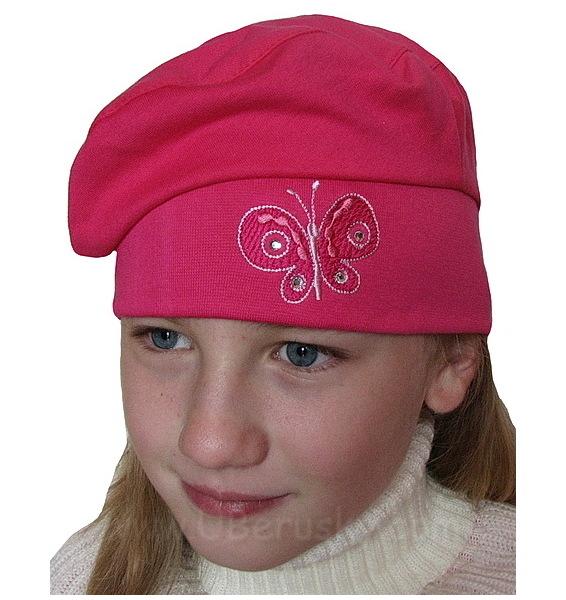 Dívčí baret, vel. 104, tm. růžová