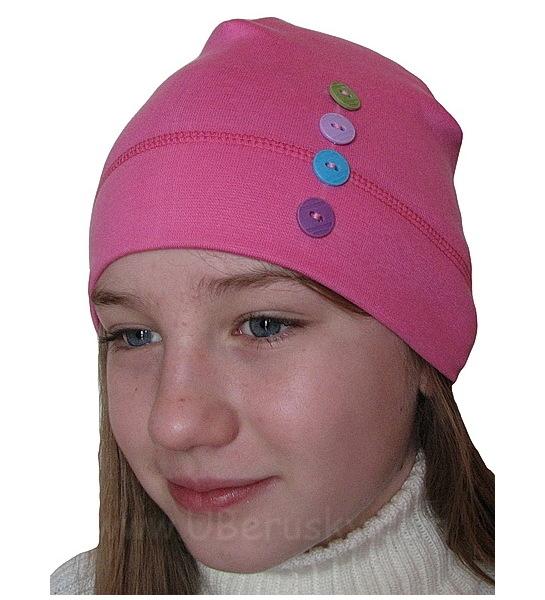 Dívčí čepice Ája (D1065), vel. 116, Růžová