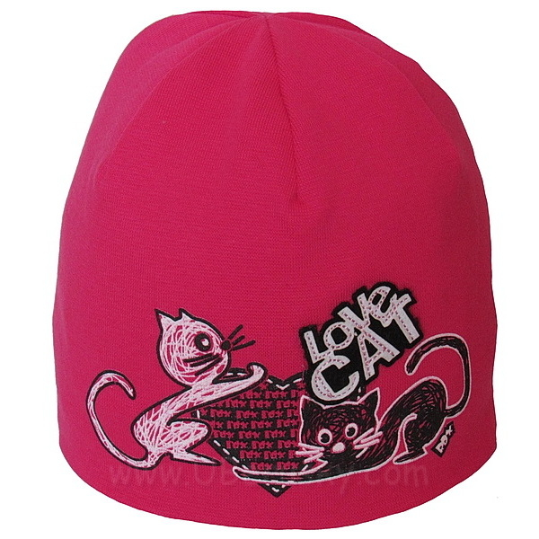 Dívčí čepice kočka dvojvrstvá (RDX113), vel. 92, tm. růžová