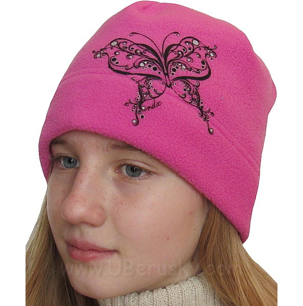 Dívčí čepice motýl (RDX306), vel. 140, Růžová