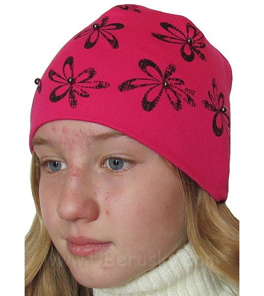 Dívčí čepice perličky (RDX04), vel. 116, tm. růžová