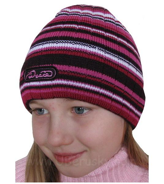 Dívčí čepice pruh, vel. 116, tm. růžová