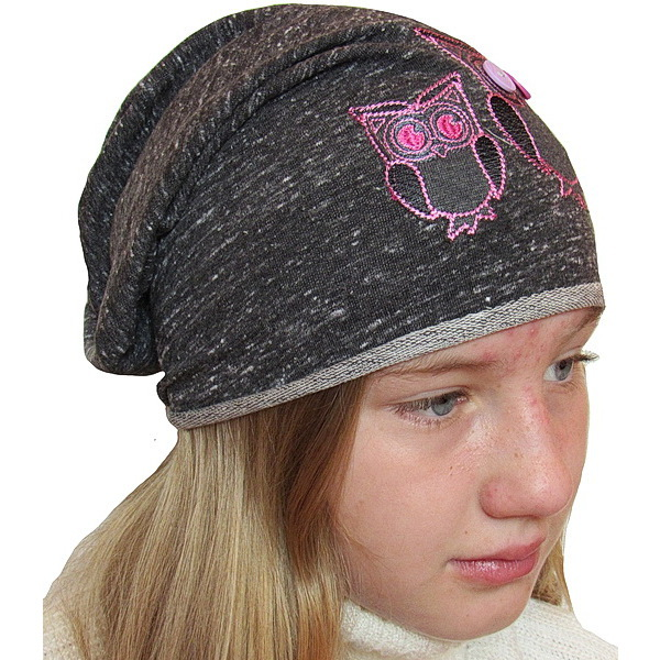 Dívčí čepice se sovou (DR1009), vel. 116, tm. růžová