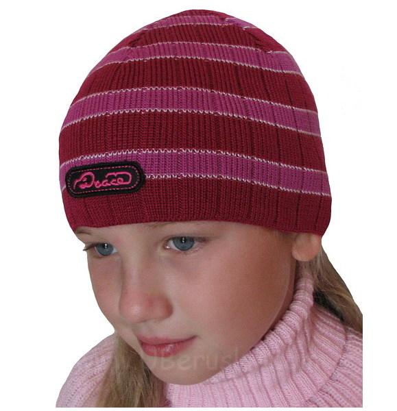 Dívčí čepice úpletová, vel. 104, tm. růžová