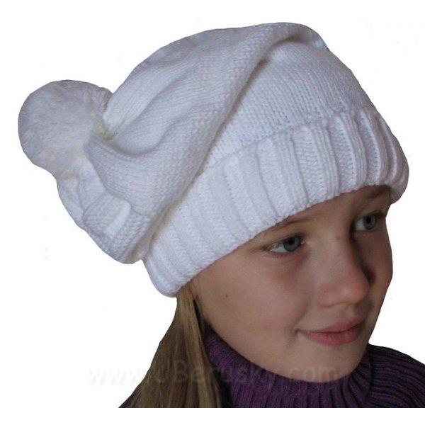 Dívčí (dámská) zimní čepice, vel. 140, Bílá