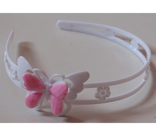 Bižuterie Lerch Dívčí plastová čelenka Motýl (C23), Bílá