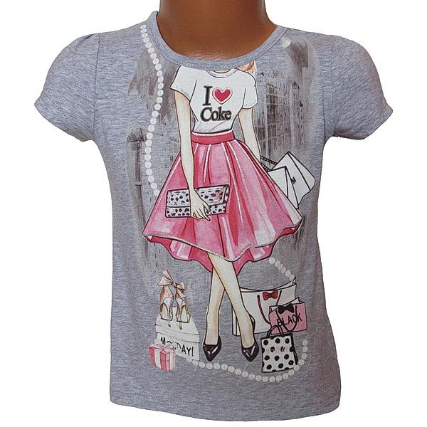 Dívčí triko Kugo (S3001), vel. 122, šedá