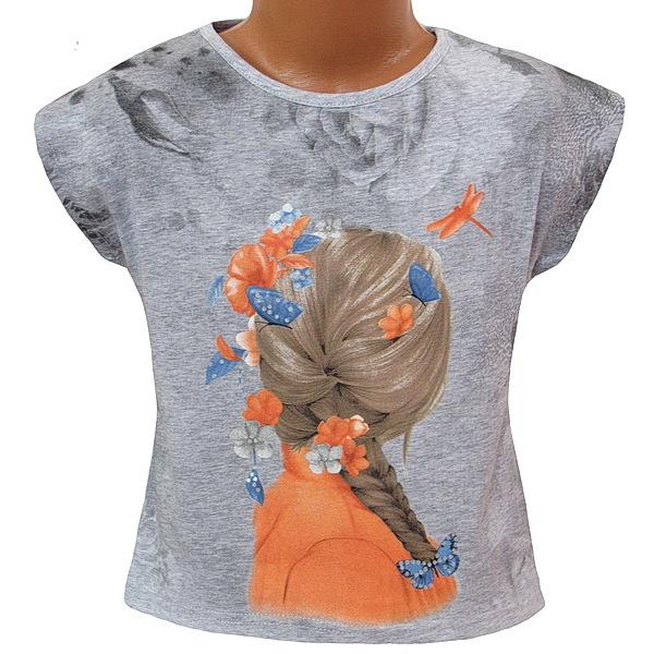 Dívčí triko Kugo (S3006), vel. 128, šedá
