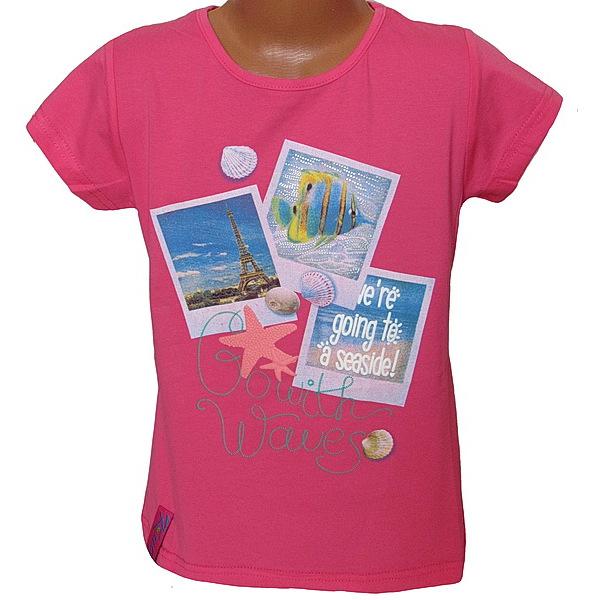 Dívčí triko Kugo (T1005), vel. 134, tm. růžová