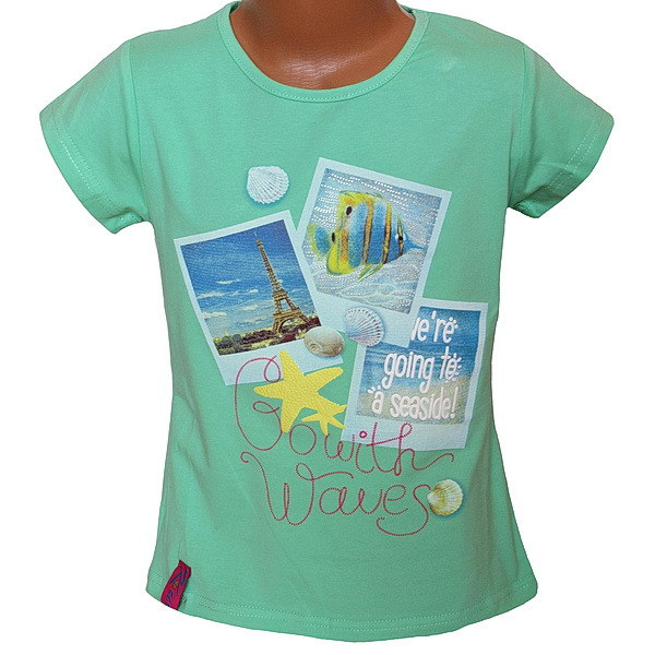 Dívčí triko Kugo (T1005), vel. 140, hrášková