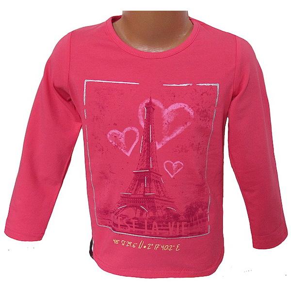 Dívčí triko Kugo (T1128), vel. 140, tm. růžová