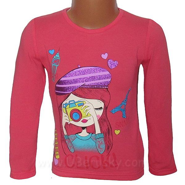 Dívčí triko Kugo (T1902), vel. 128, Růžová