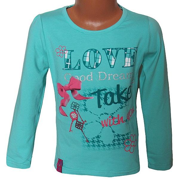 Dívčí triko Kugo (T6804), vel. 128, tyrkysová