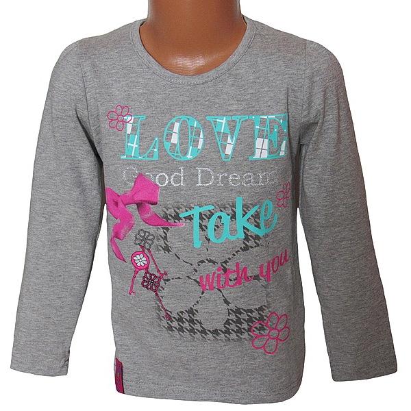 Dívčí triko Kugo (T6804), vel. 128, šedá