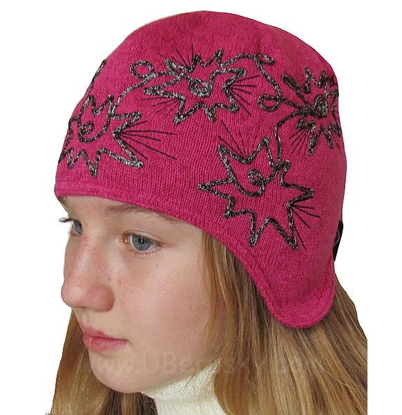 Dívčí zimní čepice Hvězda (R3383), vel. 104, tm. růžová