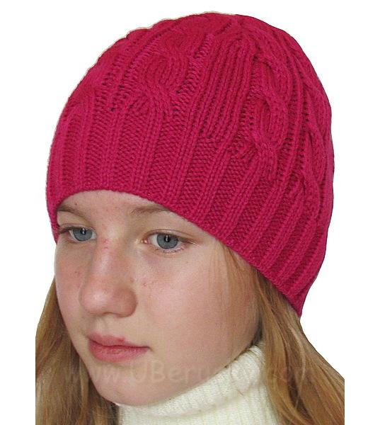 Dívčí zimní čepice (R4016), vel. 128, tm. růžová
