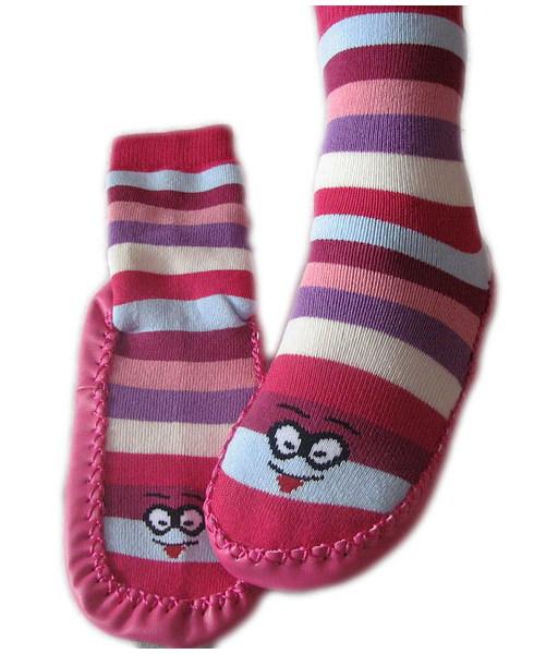 Domácí ponožky s podrážkou (3140), vel. 20-21, Růžová