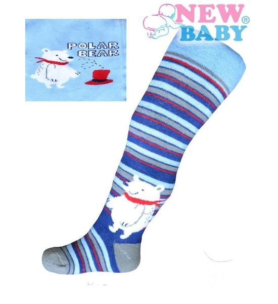 Froté punčocháčky New Baby modré s medvědem, vel. 104, Modrá