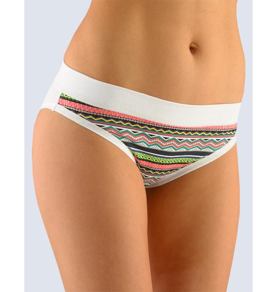 GINA dámské kalhotky bokové se širokým bokem, širší bok, šité, s potiskem Disco VIII 16077P - mahagon bílá 34/36, vel. 34/36, šalvěj bílá