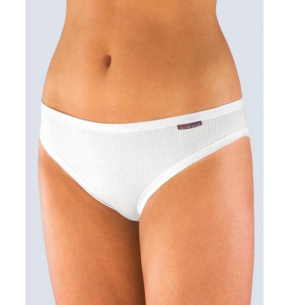 GINA dámské kalhotky klasické s úzkým bokem, úzký bok, šité, jednobarevné Multirib 10985P - arónie 34/36, vel. 34/36, Bílá
