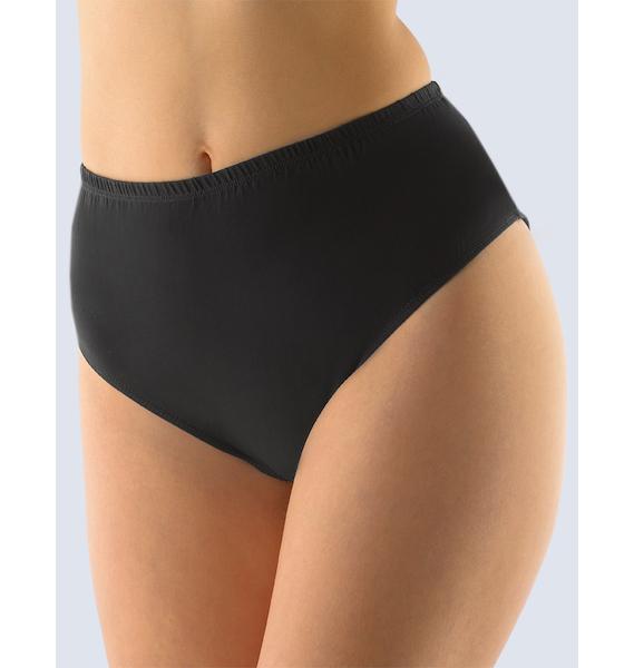 GINA dámské kalhotky klasické ve větších velikostech, větší velikosti, šité, jednobarevné 11022P - černá 46/48, vel. 50/52, černá