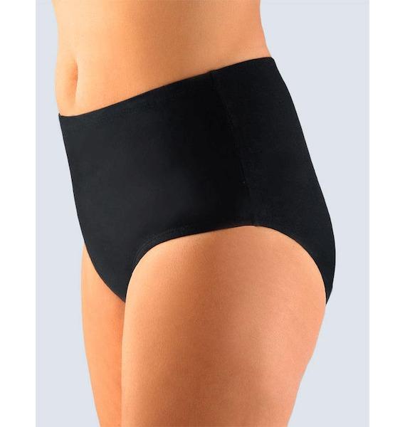 GINA dámské kalhotky klasické ve větších velikostech, větší velikosti, šité, jednobarevné 11027P - černá 50/52, vel. 50/52, černá