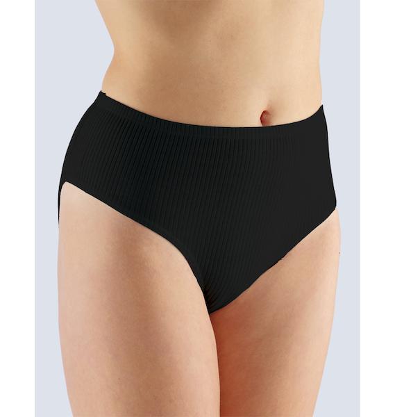GINA dámské kalhotky klasické ve větších velikostech, větší velikosti, šité, jednobarevné 11029P - žlutobílá 54/56, vel. 58/60, černá